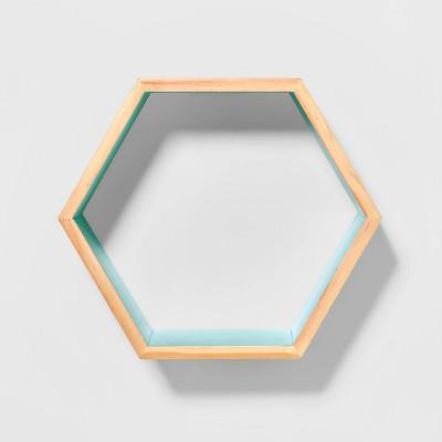Natural Wood Hexagon Shelf Mint - Pillowfort™