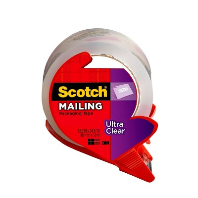 "Scotch Ultra Clear Mailing Packaging Tape with Dispenser 1.88"" x 54yd"
