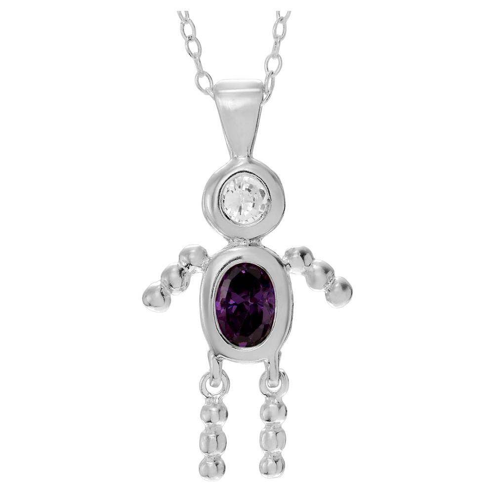 1/6 CT. T.W. Oval-cut CZ Bezel Set Birthstone Boy Pendant Necklace in Sterling Silver - Purple (18)