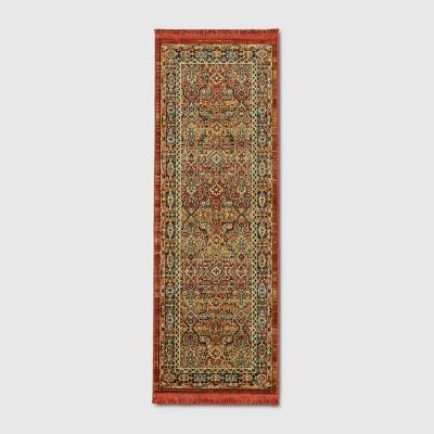 "2'4""X7' Damask Woven Persian with Fringe Accent Rug Dark Auburn - Threshold™"
