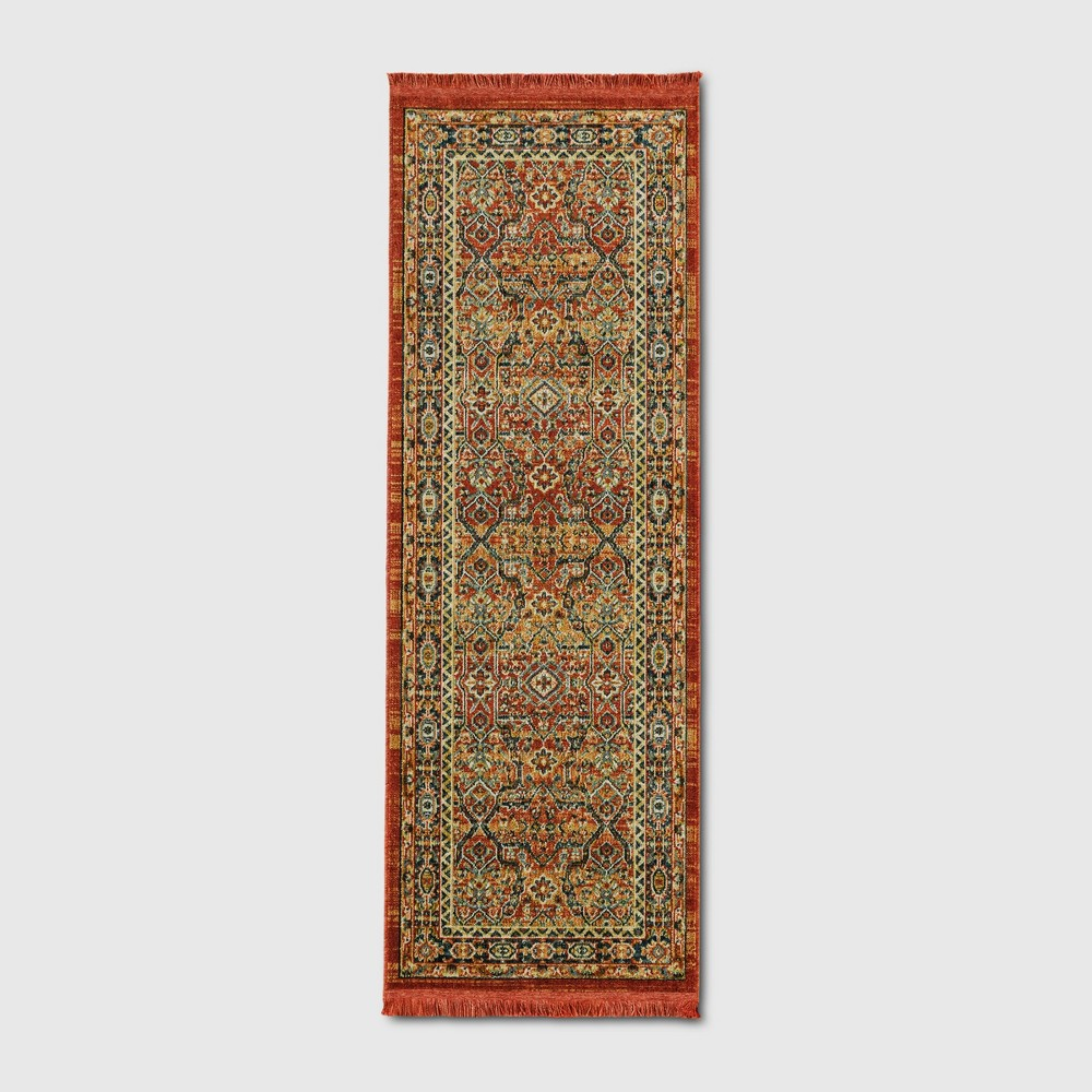 2'4X7' Damask Woven Accent Rugs Dark Auburn - Threshold, Red