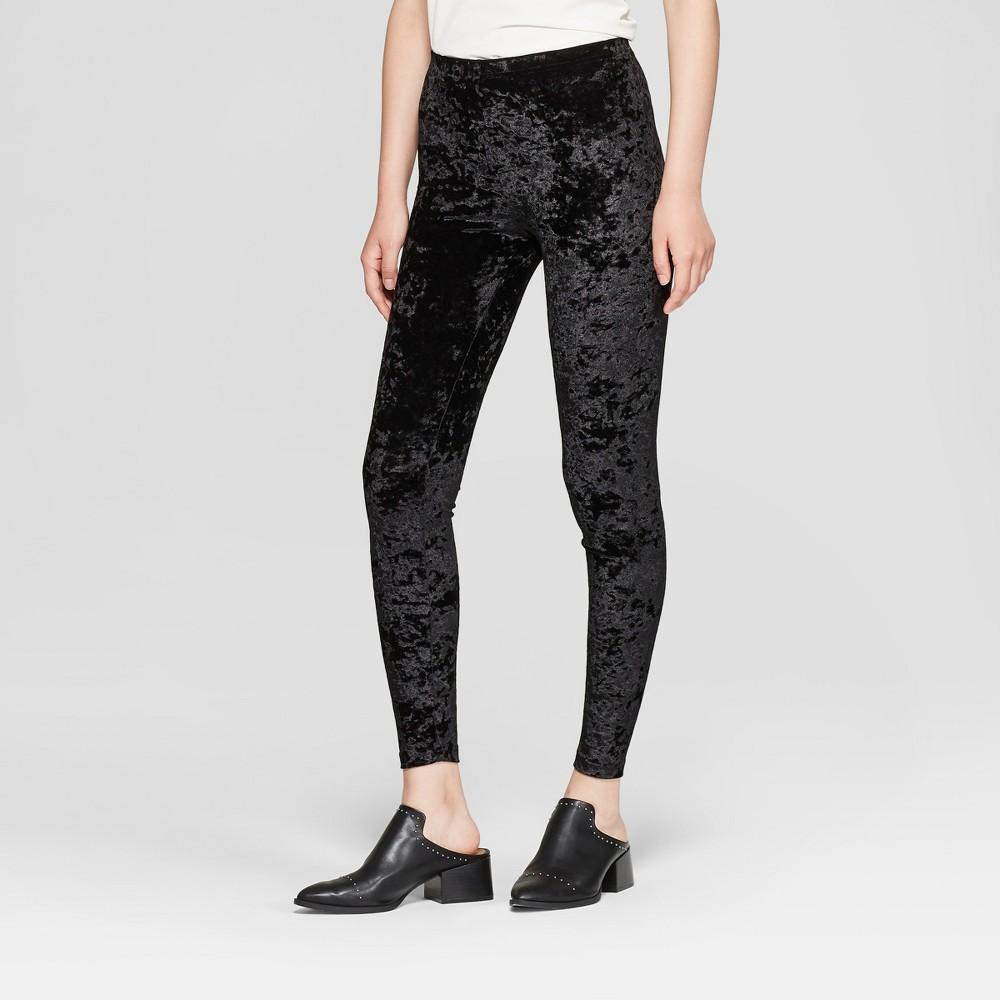 Women's Crushed Velvet Hosiery leggings - Xhilaration Black XL