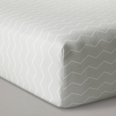 Fitted Crib Sheet Chevron - Cloud Island™ - Gray