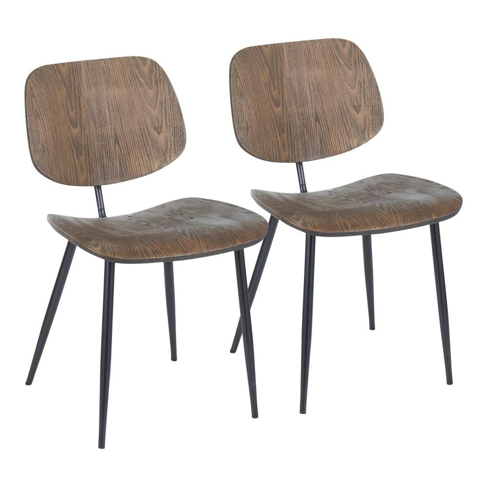 Set Of 2 Wilson Industrial Chair Espresso Lumisource