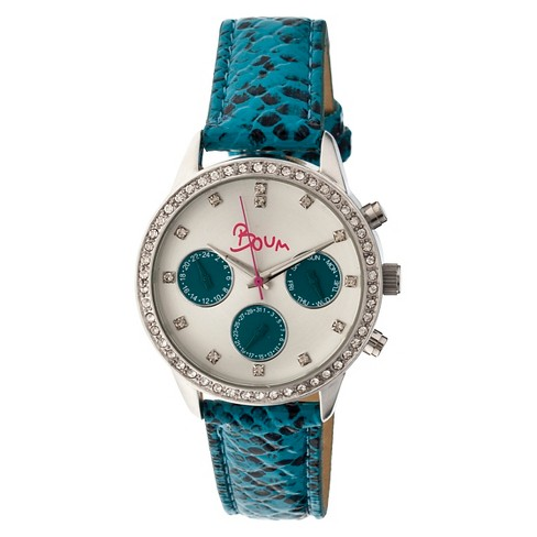 Women's Boum Serpent Watch with Crocodile-Embossed Genuine Leather Strap-Blue - image 1 of 3