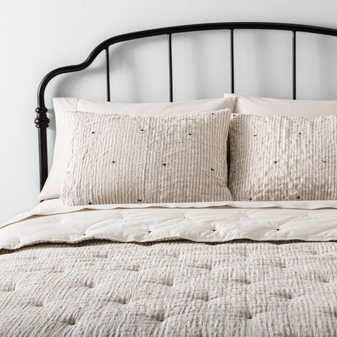 Simple Stripe with Stitch Embroidery Comforter Set Taupe / Sour Cream - Hearth & Hand™ with Magnolia - image 1 of 4