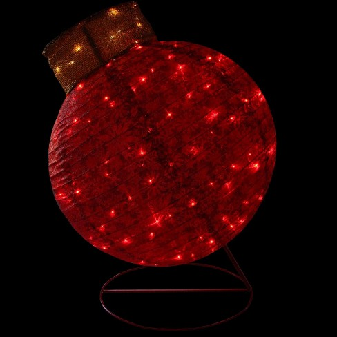 """Northlight 36"""" LED Lighted Twinkling Red Glitter Ball Ornament Christmas Outdoor Decoration : Target"""