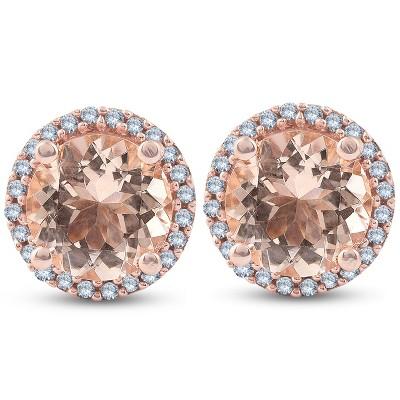Pompeii3 1 1/2 Ct Diamond & Morganite Rose Gold Halo Studs Screw Back Earrings Rose Gold