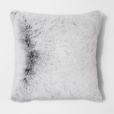 Black Tipped Shaggy Oversize Square Throw Pillow - Room Essentials™