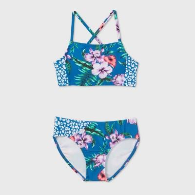 Girls' 2pc Floral Print Bikini Set - art class™ Blue