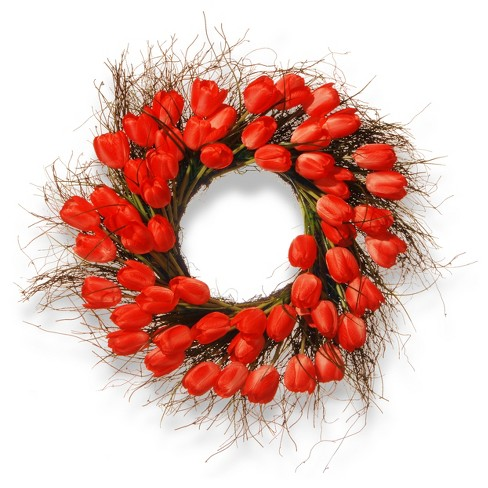 "Artificial Tulip Wreath Red 24"" - National Tree Company® - image 1 of 1"
