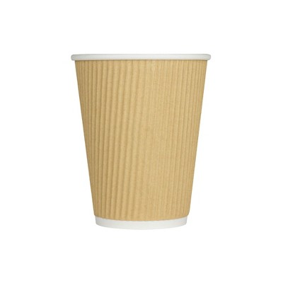 Karat 8 Ounce Ripple Grip Sturdy Insulated To Go High Quality Recyclable Paper Hot Cups for Coffee, Tea, and Hot Chocolate, Beige (500 Pack)