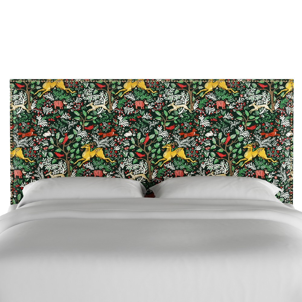 Full Arcadia Nailbutton Patterned Headboard Frolic Evergreen - Skyline Furniture