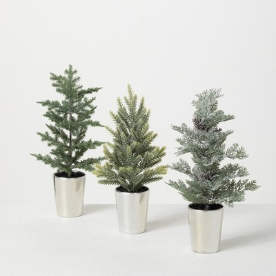 """Sullivans 1', 1' & .9' Potted Pine Artificial Tree Set of 3, 12""""H, 11.5""""H & 12""""H Green"""