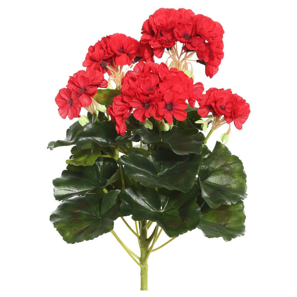 Image of Artificial Geranium Bush (14.5) Red - Vickerman