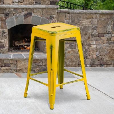 """Flash Furniture Commercial Grade 24"""" High Backless Distressed Metal Indoor-Outdoor Counter Height Stool"""
