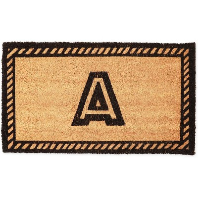 Monogrammed Door Mat with Letter A, Nonslip Coir Welcome Mat (17 x 30 Inches)