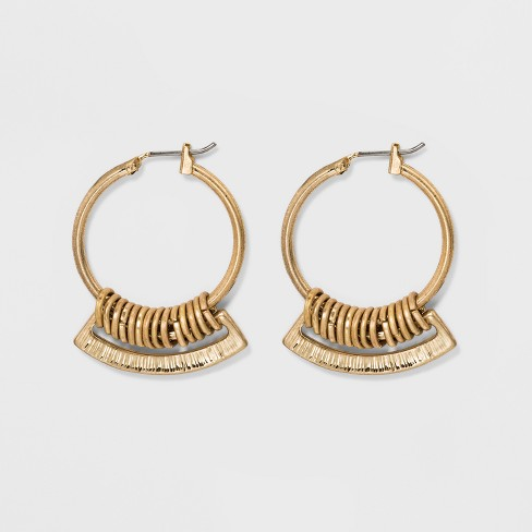 Hardware Hoop earrings - Universal Thread™ Gold - image 1 of 2