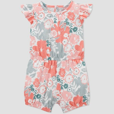 Baby Girls' Floral Romper - Just One You® made by carter's Orange