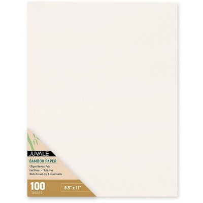 Juvale 100 Sheet 8.5 x 11 Inch Bamboo Paper for Cold Press Art, Mixed Media, Painting, Drawing