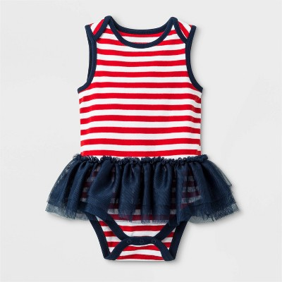 Baby Girls' Sleeveless Lap Shoulder Tutu Bodysuit - Cat & Jack™ Red/Blue Newborn