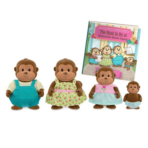 Li'l Woodzeez Miniature Animal Figurine Set - O'Funnigan Monkey Family - image 1 of 4