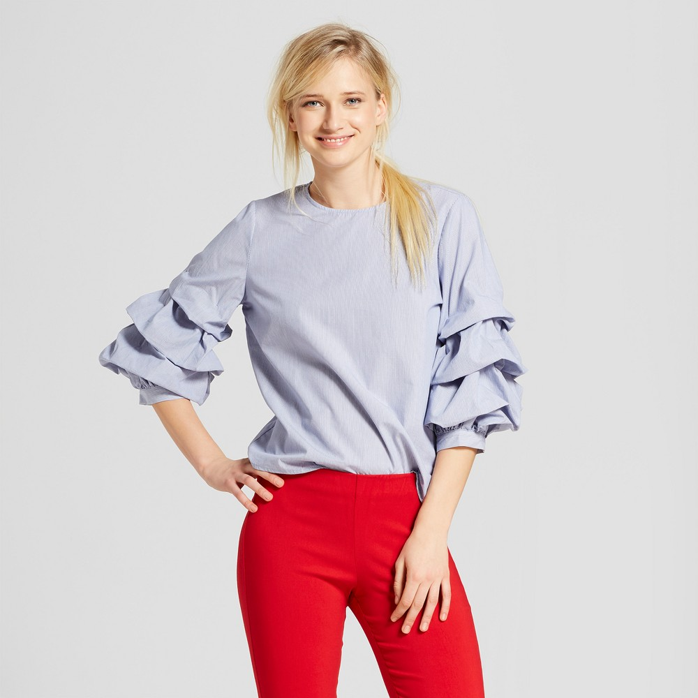 Women's 3/4 Pick-Up Sleeve Top - Who What Wear Blue Stripe L