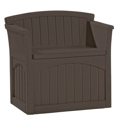 Suncast 31 Gallon Patio Seat Outdoor Storage and Bench Chair, Java (2 Pack)