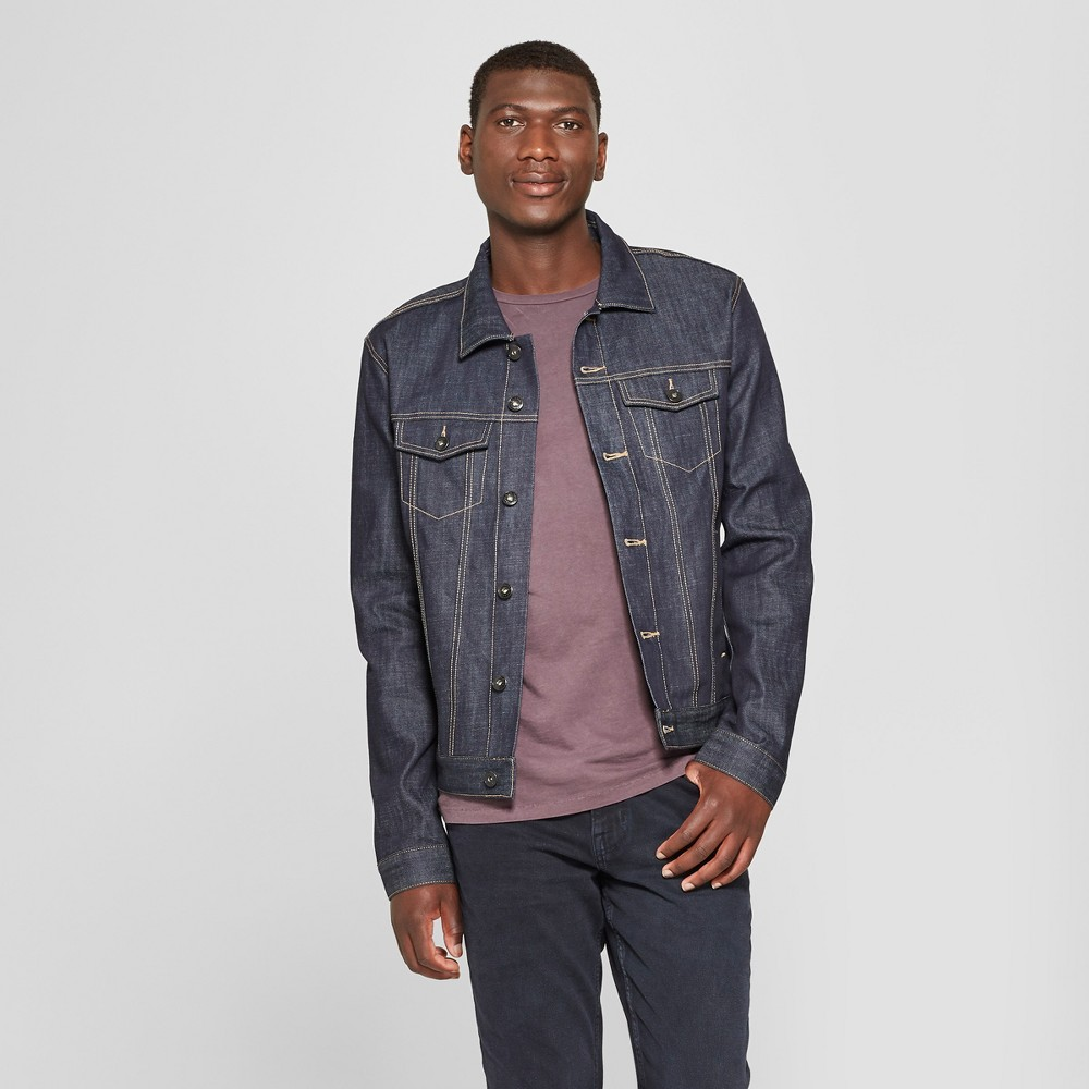 Men's Selvedge Denim Jacket - Goodfellow & Co Dark Rinse S, Blue