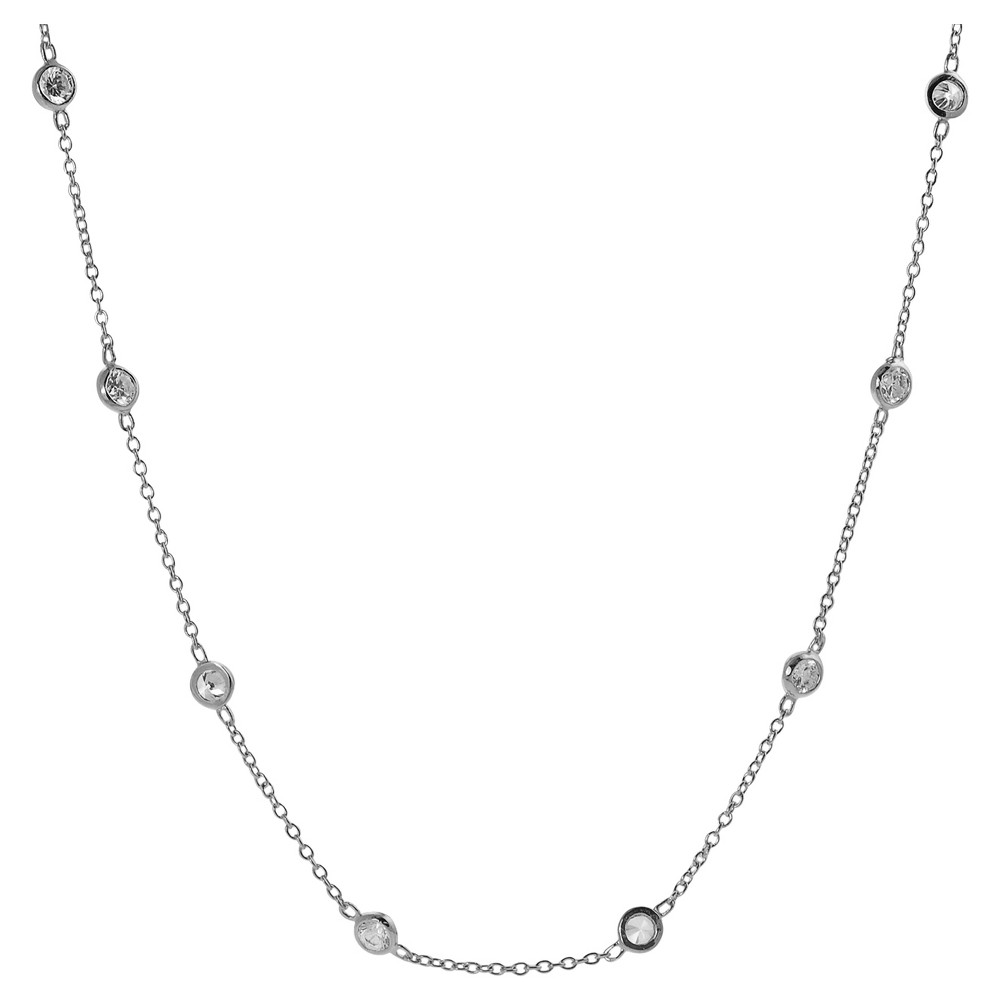1 7/8 CT. T.W. Round-cut CZ Bezel Set Vintage Necklace in Sterling Silver - Silver (18), Girl's