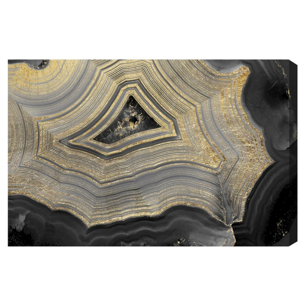 "Image of ""Oliver Gal Unframed Wall """"Dubbio Geode"""" Canvas Art (24x16), Black Silver Gold"""