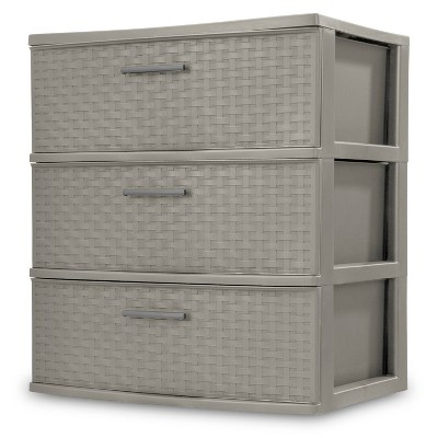 3 Drawer Wide Tower Utility Storage Weave Gray - Room Essentials™