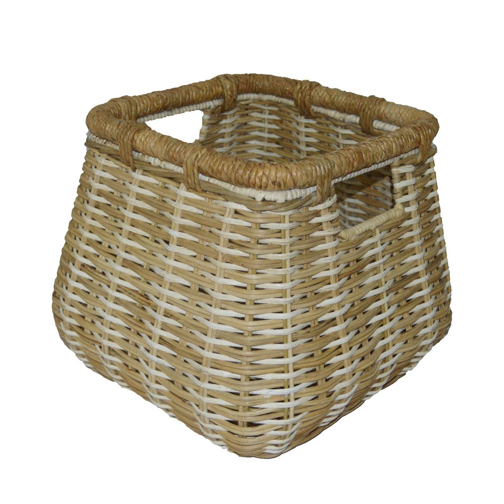 Small Rounded Square Basket Natural with White Accents 11.25