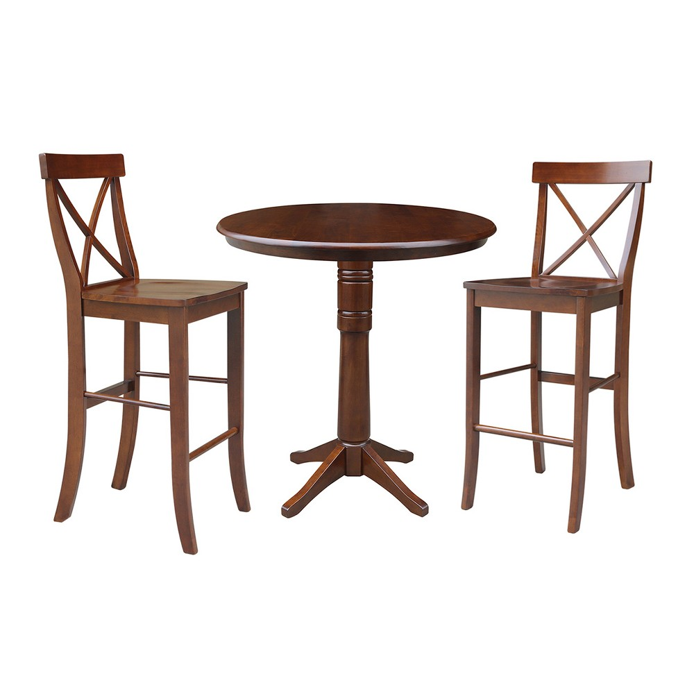 36 3pc Ida Round Pedestal Bar Height Table with 2 Stools Set Espresso - International Concepts, Brown