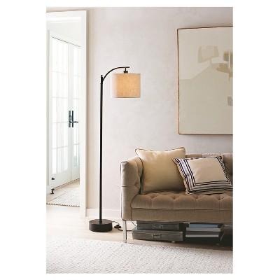 Black Downbridge Floor Lamp with Tan Shade - Threshold™