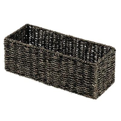 mDesign Natural Woven Bathroom Storage Organizer Basket