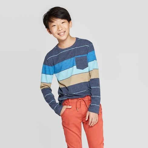 Boys' Long Sleeve Striped T-Shirt - Cat & Jack™ Navy/Blue/Yellow - image 1 of 3