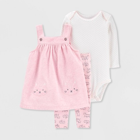 Baby Girls' 3pc Bodysuit, Kitty Tunic Top & Bottom Set - Just One You® made by carter's Pink - image 1 of 1