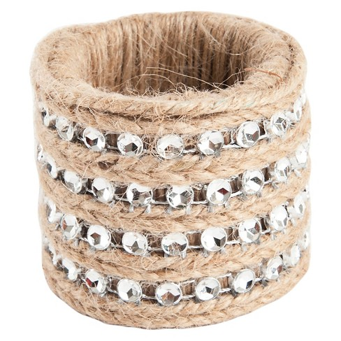 Jute With Studs Napkins Rings (Set Of 4) - image 1 of 3