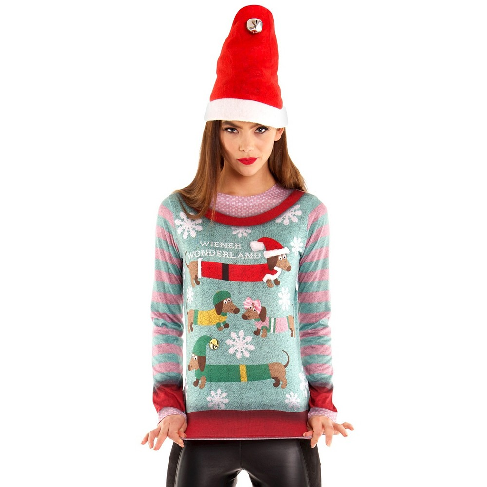 Women's Wiener Dog Wonderland Ugly Christmas Sweater Costume, Long Sleeve T-Shirt - X-Large, Size: XL, Multicolored