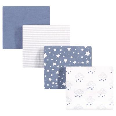 Hudson Baby Infant Boy Cotton Flannel Receiving Blankets, Cloud Mobile Blue, One Size