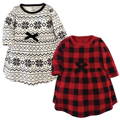 Touched by Nature Big Girls and Youth Organic Cotton Long-Sleeve Dresses 2pk, Buffalo Plaid