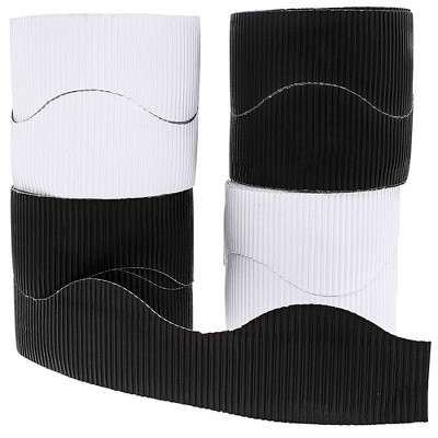 Juvale 6-Rolls Bulletin Board Scalloped Border Decoration for Classroom, Black and White, 2 Inches x 150 Feet Total
