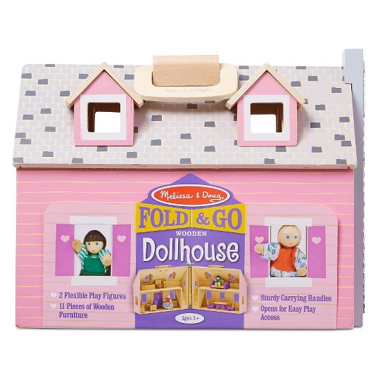 Melissa & Doug Fold and Go Wooden Dollhouse With 2 Dolls and Wooden Furniture image number null