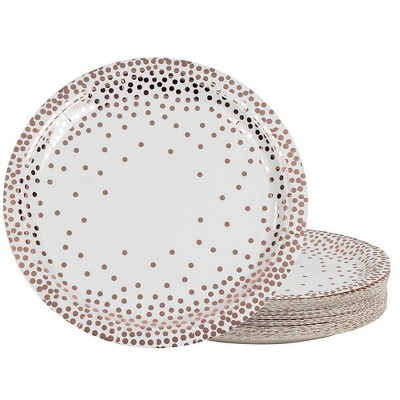 Juvale 48-Pack Metallic Rose Gold Foil Polka Dot Disposable Paper Plates Party Supplies, 9 Inch