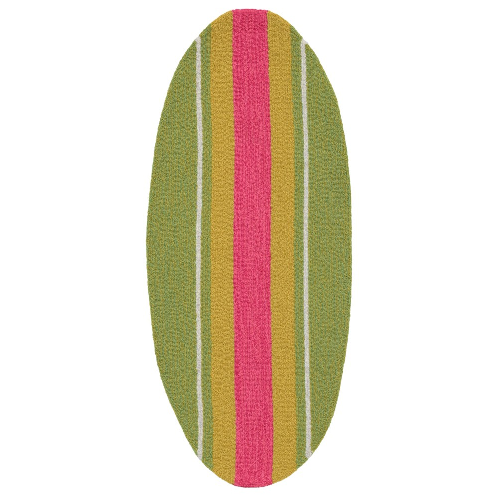"Image of ""1'6""""X3'10"""" Surfboard Accent Rug Green - Liora Manne"""