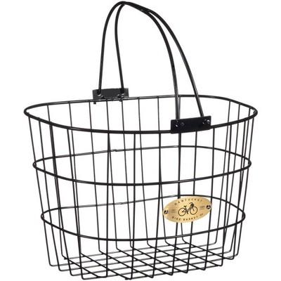 """Nantucket Bike Basket Co. Surfside Adult Wire D Handlebar Basket: Black Dimensions: 13.25 x 10 x 9"""""""