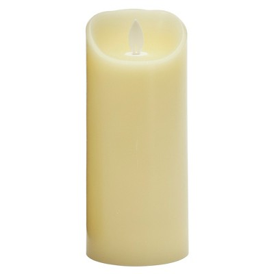 "3"" x 7"" Unscented LED Flickering Flame Pillar Candle Cream - Threshold™"