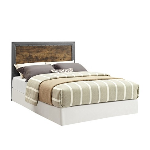 Queen Size Industrial Wood and Metal Panel Headboard Brown - Saracina Home