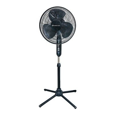 "Comfort Zone 16"" Pedestal Fan Oscillating Black"